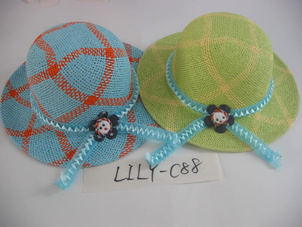 儿童纸草帽,帽子,餐垫和包袋