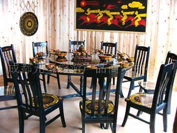 彝族特色漆器-民族餐桌