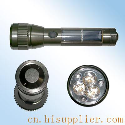 太阳板:单晶, 蓄电池:镍隔电池, 灯泡:超高亮led灯泡, 筒身:合金铝材图片