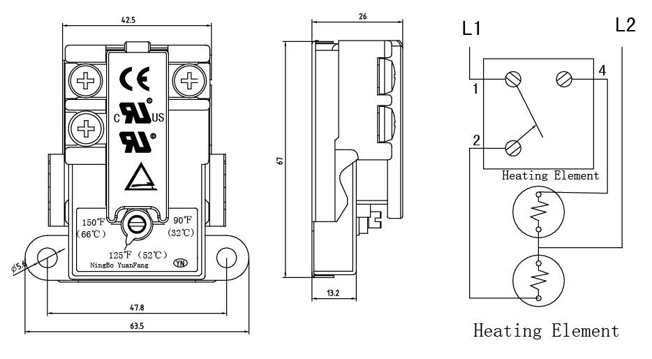 温控电热水器接线图