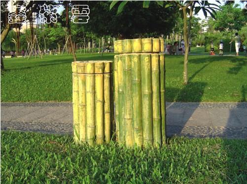 园林仿木垃圾桶