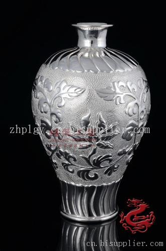 金属工艺品 手工银器 银摆件 缠枝中花瓶