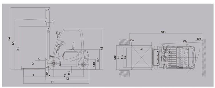 叉车平面矢量图