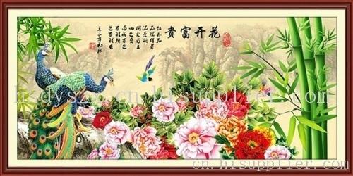 绣竹报平安花开富贵孔雀牡丹十字绣