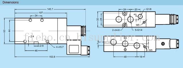 FCHA二位五通截止式电磁阀1.大流量:标准额定流量达到1300L/min,可胜任大缸径长行程气缸的供气要求。2.气源净化要求低:新型的同轴截止式结构,客服了滑柱式结构防尘能力弱的特点。3.密封可靠,寿命长:同轴截止式结构避免了密封件直接摩擦阀体,大大提高了密封件及阀体的寿命,密封件采用聚氨酯材料,寿命得以保证。