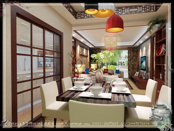 在这张中式餐厅装修效果图中:长方桌的设计显得庄重
