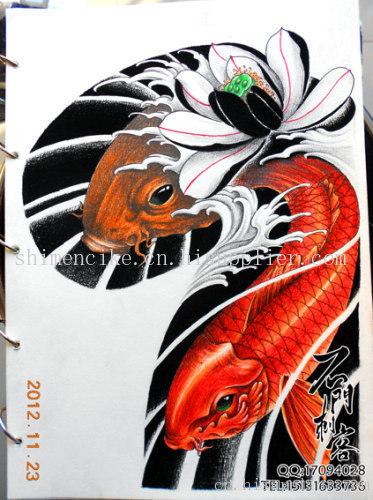 男鲤鱼龙胸前纹身手稿