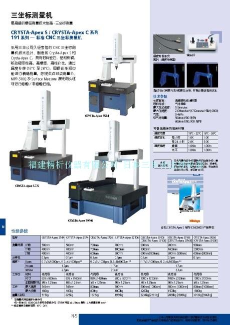 日本三丰MitutoyoCRYSTA-ApexS/CRYSTA-ApexC系列 191系列-标准CNC三坐标测量机福建总代理