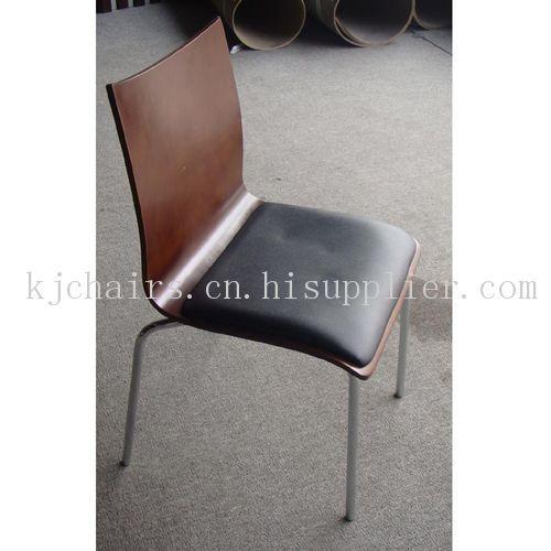 曲木软包单椅子 不锈钢椅子 连锁店多层板椅