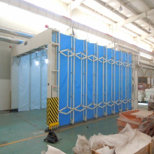 伸缩移动式喷漆房整体移动式喷漆房干式喷烘漆房湿式图片