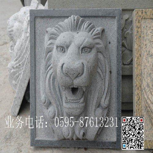 狮子头喷水石雕,石雕龙头喷水雕刻,动物喷水石雕,景观