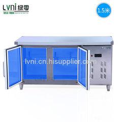 绿零蓝光门款1.5米卧式不锈钢操作台冰柜