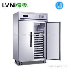绿零商用不锈钢两门冷藏烤盘柜