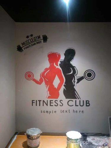 健身房3d壁画墙手绘图案