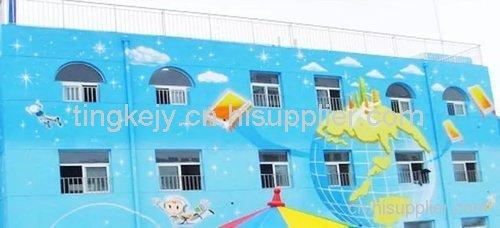 天河幼儿园手绘墙制作