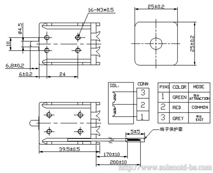 产品主要参数: 1.名称型号:博顺产销翻针电磁铁、电脑横机电磁铁BS-0940N 2.标准测试条件: 2.1 环境温度:—20~+65,5%~95%RH 2.2 相对湿度:—20~+65,5%~65%RH 2.3 额定电压:DC24V 2.4 功耗:53.3W/57.6W(DC24V,R=10.8Ω±10%/R=10Ω±10%) 2.